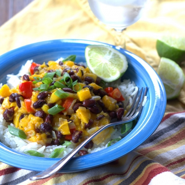 Black Bean and Rice Bowl with Mango Salsa