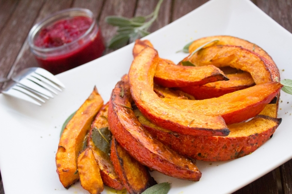 Roasted Pumpkin with Plum Sauce